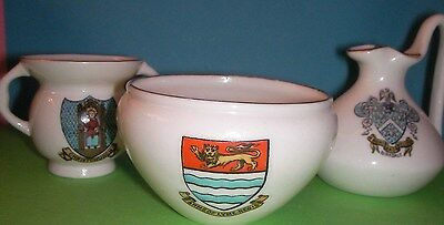 Goss Crested China Christchurch, Lyme Regis, Birkdale Crests