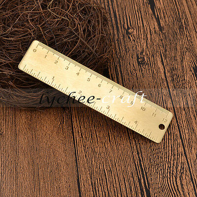 12cm Brass Ruler Magnetic Journal Office School Stationery Bookmark Book Decor