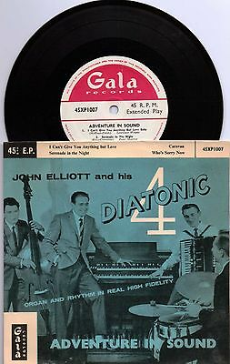 """JOHN ELLIOTT AND HIS DIATONIC 4 Adventure In Sound 7"""" 4 Track Featuring I Can't"""