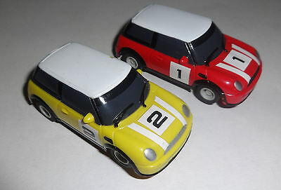 Micro Scalextric 2 X BMW Minis  Yellow & Red - Very Good Condition