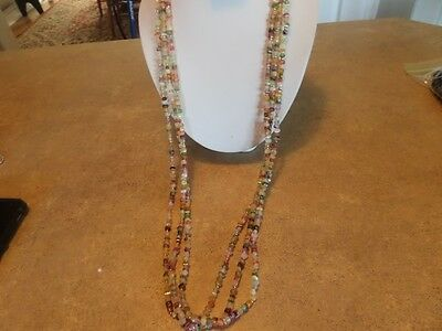 Vintage Marbled Plastic Stone Look Multi Strand Necklace