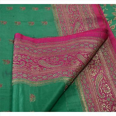 Sanskriti Vintage Sari Woven Pure Satin Silk Green Fabric Saree Brocade Work