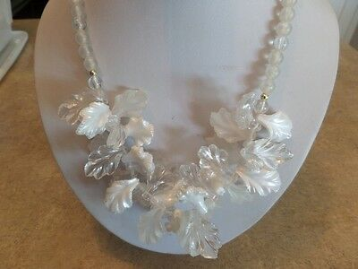 Vintage Clear and Iridescent Plastic Leaf Necklace