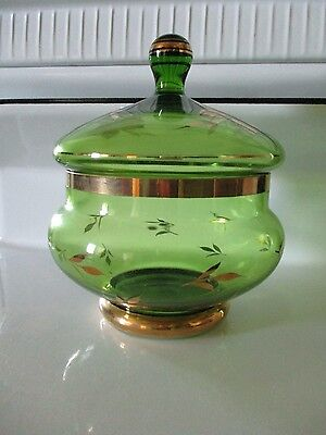 Vintage Green Romania Glass Candy Apothecary Jar