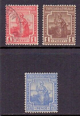 Trinidad and Tobago, 2 LH mint stamps and 1 used stamp. 1921/22