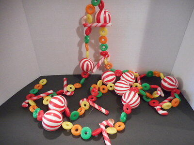 Vintage Plastic Christmas Blow Mold Candy Cane and Life Saver Garland
