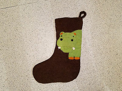 felted wool hippo Christmas stocking brown & green