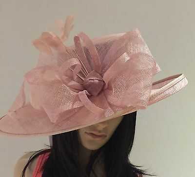 LADIES BLOSSOM PINK WEDDING ASCOT Hat Occasion FORMAL MOTHER OF THE BRIDE