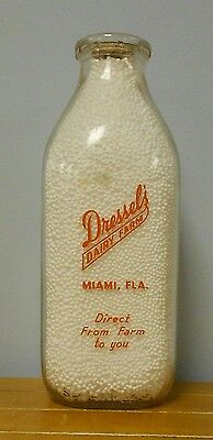 Dressel's Dairy Square Quart Orange Pyro Milk Bottle Miami Florida Fla Fl