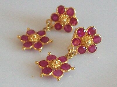Fine 18ct / 18k 750 gold and ruby earrings
