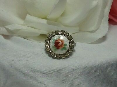 Vintage Estate Silver Guilloche White Red Rose Floral Rhinestone Cocktail Ring