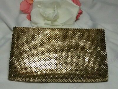 Vintage Gold Whiting and Davis Mesh Coin Money Purse Fold Ladies Metal Wallet