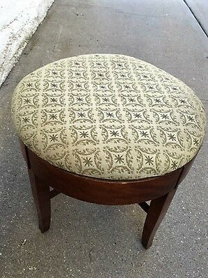 Vintage Antique Ottoman Footstool Chair Solid Wood with Upholstery