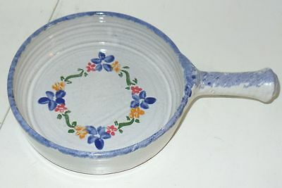 """Owens Pottery Seagrove NC Gray Blue Ring Floral Circle 7"""" Pan W Handle"""