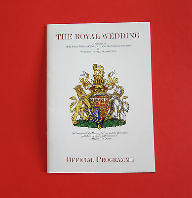 Royal Wedding of Prince William and Catherine Middleton Programme EX Condition
