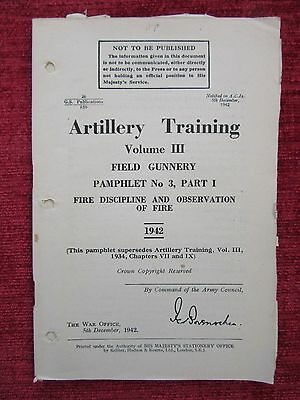 1943 Booklet Artillery Training Vol.3 Pt3 Field Gunnery Concentrations Fire FC43