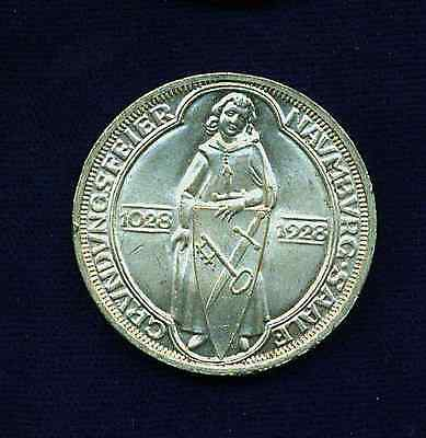 Germany Weimar Republic 1928-A 3 Reichsmark Silver Coin, Brilliant Uncirculated