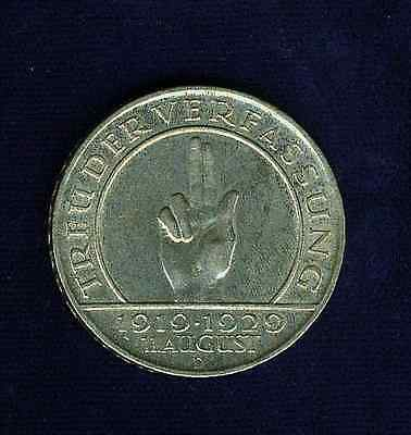 Germany  Weimar Republic   1929-D  3 Reichsmark Silver Coin, Almost Uncirculated