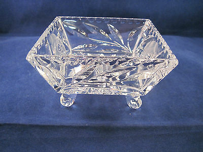 "Vintage Frosted Etching Crystal Candy Dish 4"" top  2.5"" Bottom Tapered & Feet"