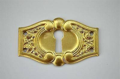 Original antique pressed brass escutcheon plate keyhole box furniture KP4