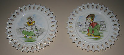 Set of (2): Unusual Vintage White Milk Glass Plates Hand Painted Dutch Boy &Girl