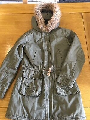 Fab Girls Green Winter Coat Fur Lined Age 10 By Vertbaudet