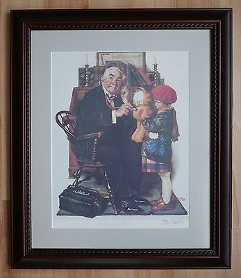 Rockwell Meets Jim Davis Garfield Doctor & Doll Signed Lithograph matted framed
