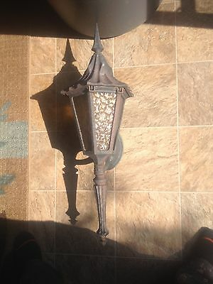 Eight Vintage Gothic(?) Outdoor Lights with hinged tops
