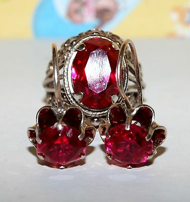 LARGE RUBIES Vintage EARRINGS RING Silver 875 Soviet GIFT USSR Antique!