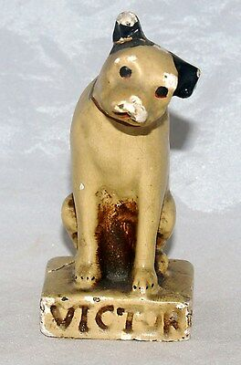 Antique Chalkware Advertising Figure Rca Victor Phonograph Nipper Dog Statue