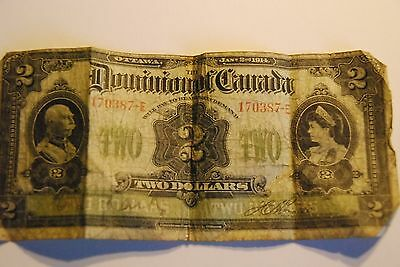 2 Dollar Dominion of Canada banknote dated January 1914
