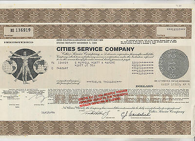 1986 Cities Service Company Zero Coupon Certificate - Delaware