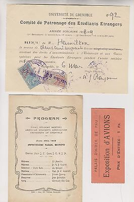 1918-19 - 7 Pieces Of French Ephemera - Hotel Billheads - University Of Grenoble