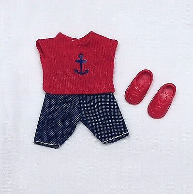 Kelly Tommy Doll Clothes Nautical Outfit Red Top Denim Shorts + Shoes Mattel New