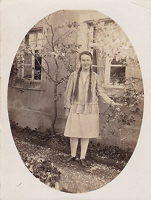 Beautiful Vintage Photo, Pretty Girl Standing In Garden,  Long Hair In Plaits