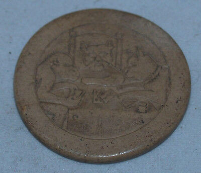 Antique Vintage Clay Poker Chip Stop Monkeying Animals Dog Cat Monkey