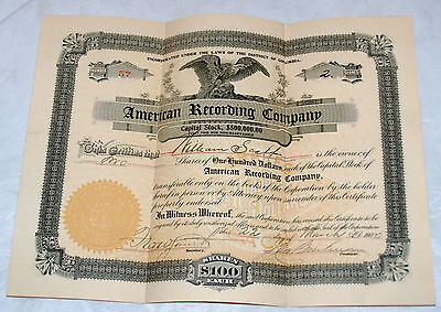 Antique American Recording Company Capital Stock Certificate 1905 Washington Dc