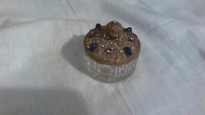 Czech Crystal Vanity Jar with Metal filigree lid with pink & blue stones