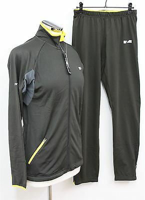 BNWT ZONDO Ladies Charcoal Breathable Fabric Zip Front Tracksuit Top & Bottoms S