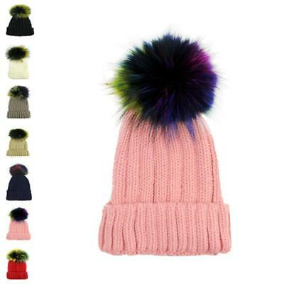 Faux Fur Women Black multi colour Pom Pom 15cm  Ball Knit Crochet Bobble Hat