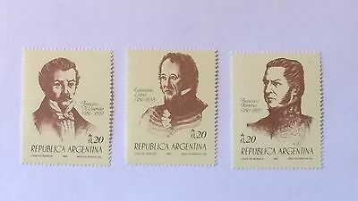 Argentine 1986 Independence hereos. MNH Stamps SG 1996-8