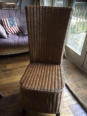 Six High Back Wicker Dining Chairs