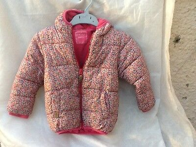 Next girls floral hooded padded coat vintage style age 2-3 years