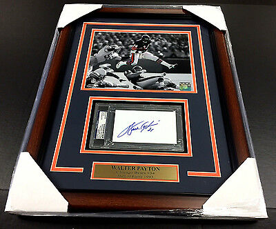 Walter Payton Autographed Psa Certified Index Card With 8X10 Photo Chicago Bears