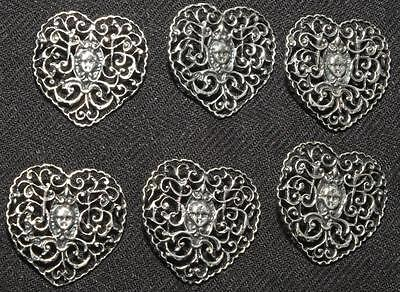 Set 6 Large Antique Sterling Silver Buttons 1903 Cherub Face In Heart, Hand Made