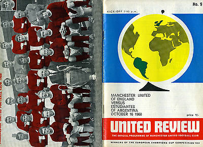Manchester United v Estudiantes  European South American Cup  October 16th 1968