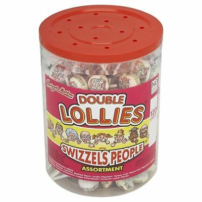 120 Swizzles Double Lollies Sealed Tub Classic Retro Sweets