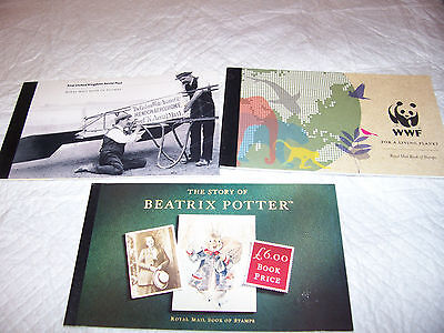 Lot Of 3 Royal Mail  Mint Stamp Booklets  Free Uk Post