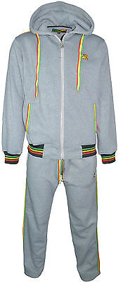 Rasta Fleece Tracksuit Bottoms And Hooded Jacket 2 Piece Set