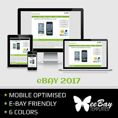 eBay Listing Template Professional Auction Design Mobile Friendly HTML 2017 *7RB